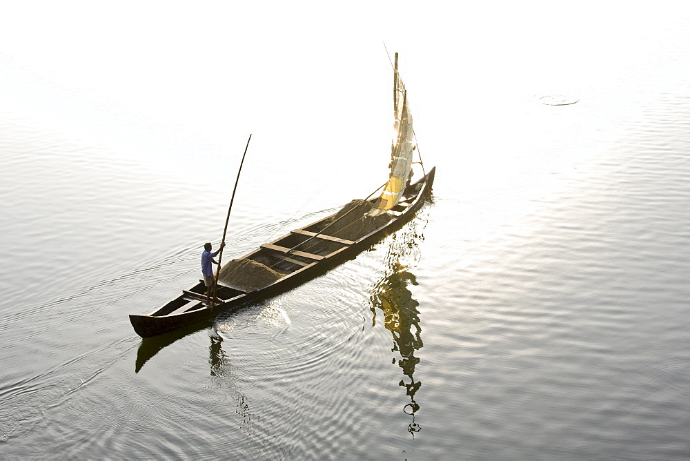 Sand mining, Ashtamudi Lake, Kollam, Kerala, India, Asia - 804-302