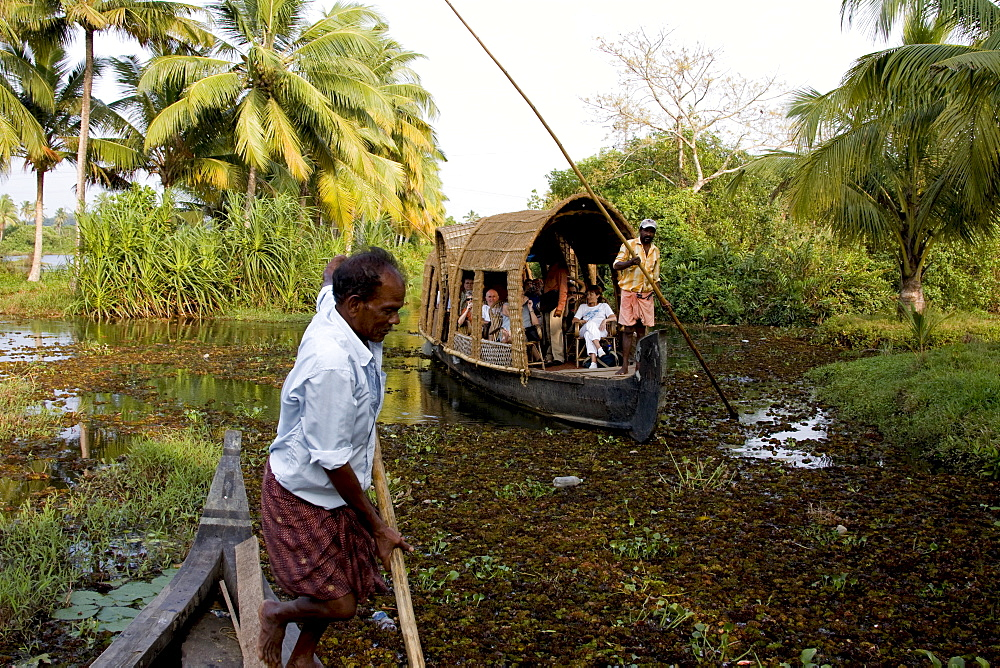 Backwater cruise in country boat, Vaikom, Kerala, India, Asia - 804-311