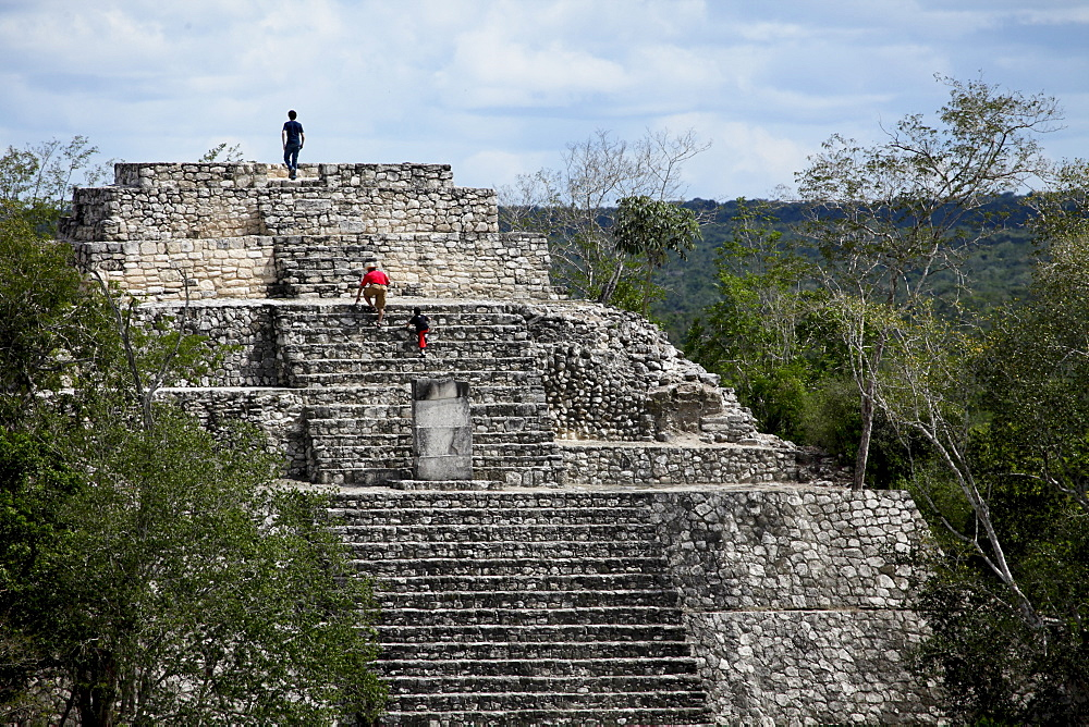 Pyramid I, Calakmul, UNESCO World Heritage Site, Calakmul Biosphere Reserve, the largest tropical forest reserve in Mexico, Campeche, Mexico, North America - 804-403