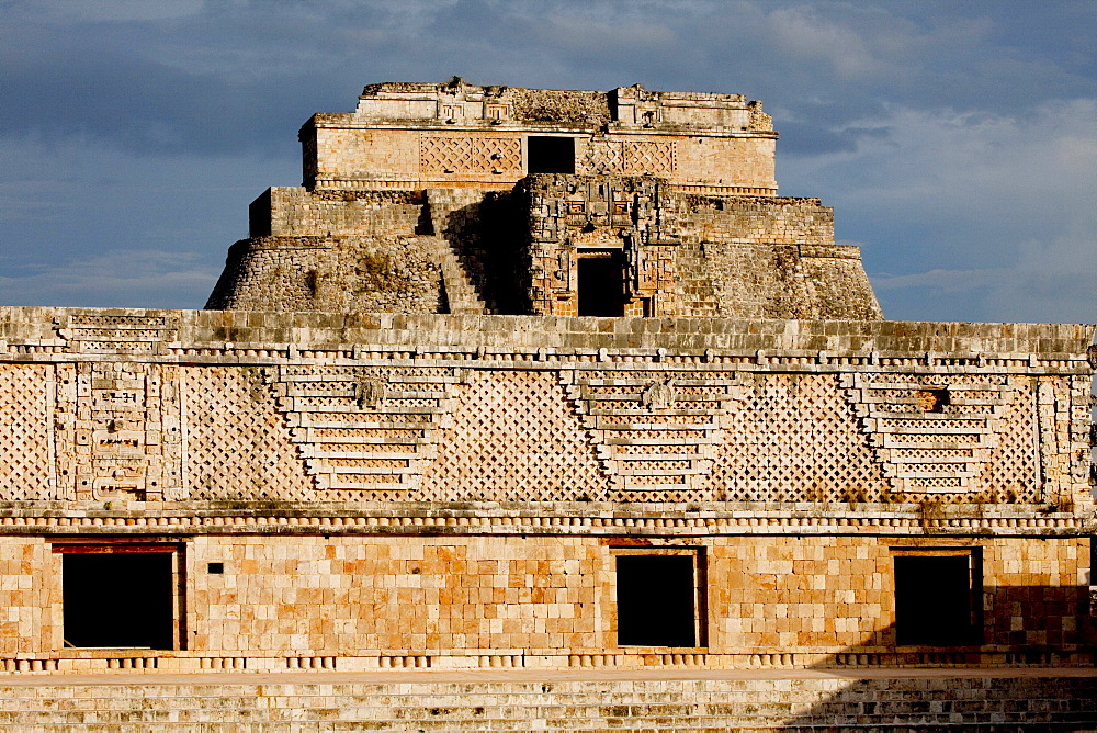 The Nunnery Quadrangle with the Pyramid of the Magician in the background, Uxmal, UNESCO World Heritage Site, Yucatan, Mexico, North America
