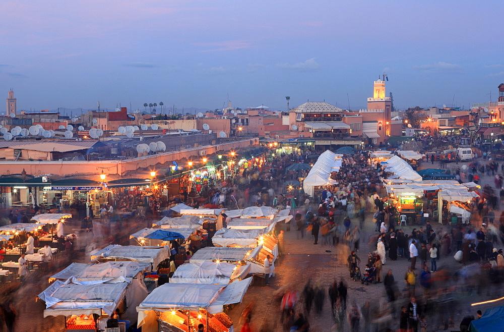 Restaurant stalls, Djemaa el Fna, Marrakech, Morocco, North Africa, Africa - 806-232