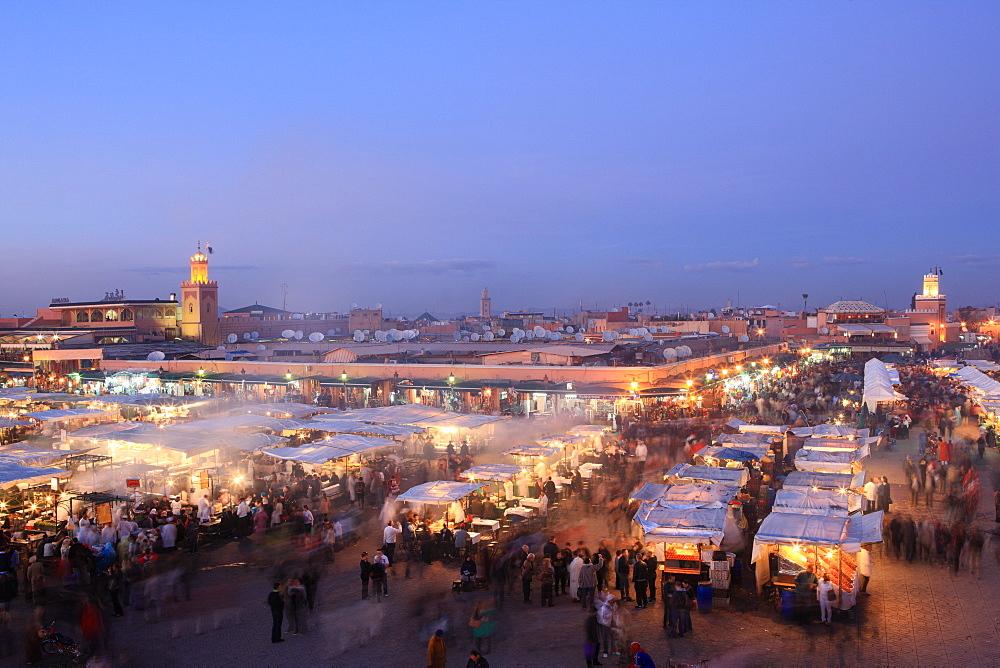 Food stalls, Djemaa el Fna, Marrakech, Morocco, North Africa, Africa - 806-233