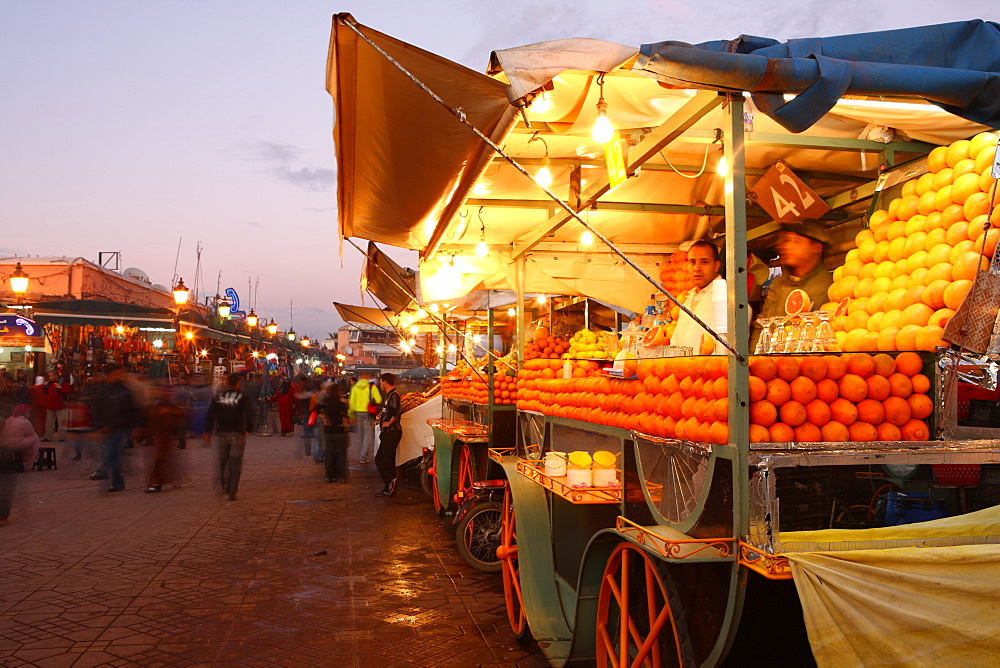 Orange juice seller, Djemaa el Fna, Marrakech, Morocco, North Africa, Africa