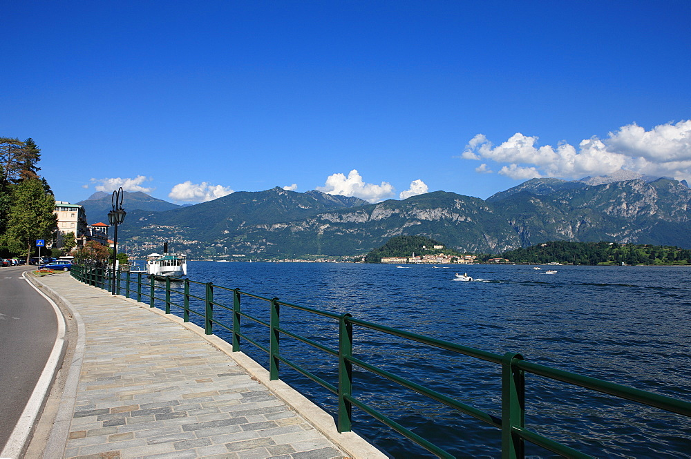 Sidewalk along Como Lake, Lombardy, Italian Lakes, Italy, Europe - 806-291