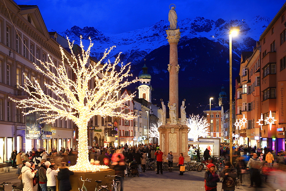 Christmas tree at dusk, Innsbruck, Tyrol, Austria, Europe - 806-299