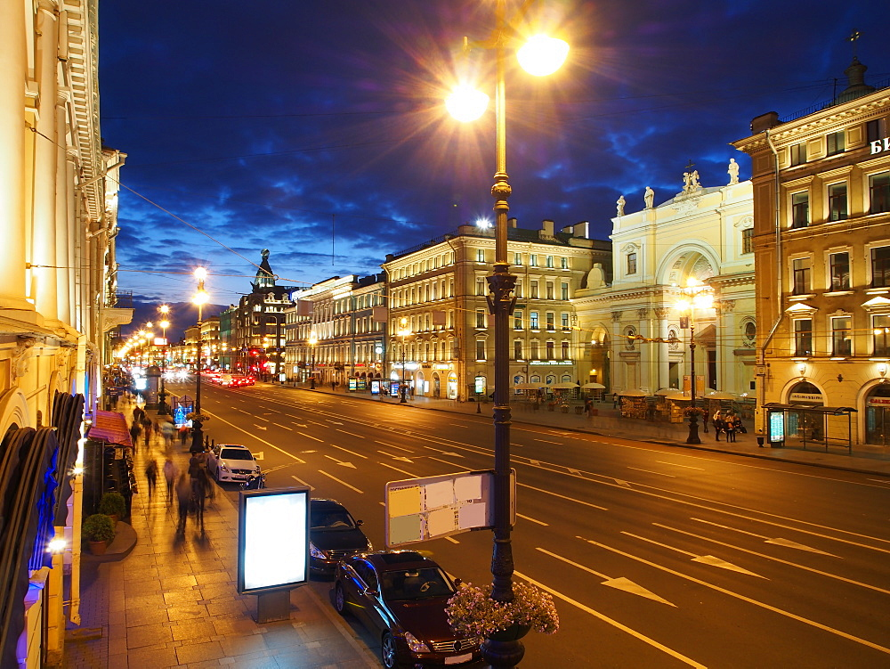 Nevsky Prospekt at night, St. Petersurg, Russia, Europe - 806-308