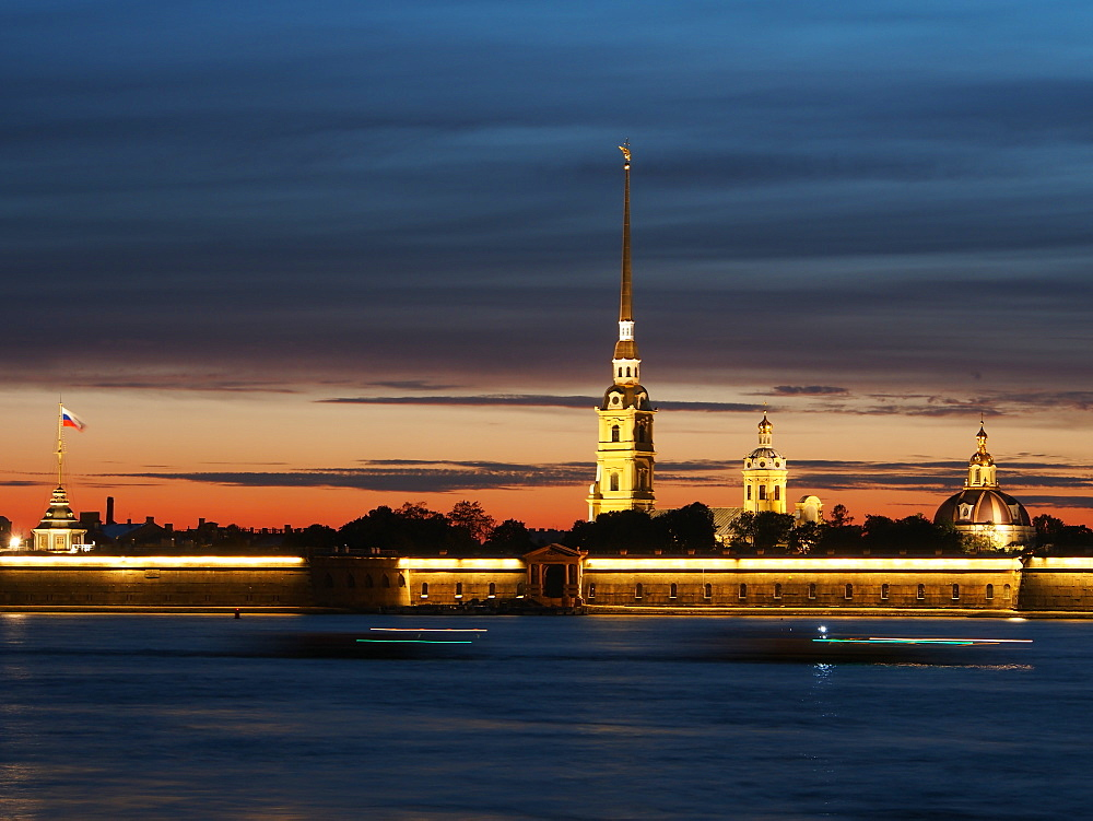 Cathedral of St. Peter and St. Paul at dusk, St. Petersburg, Russia, Europe - 806-311