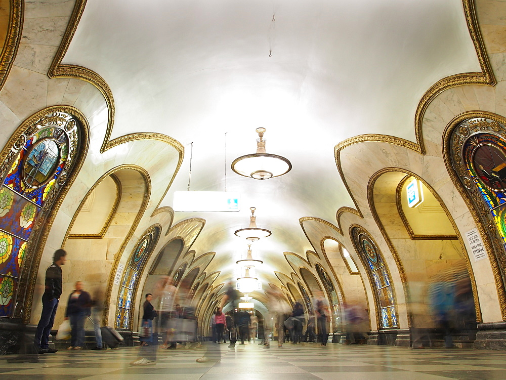 Interior of metro station, Moscow, Russia, Europe - 806-314