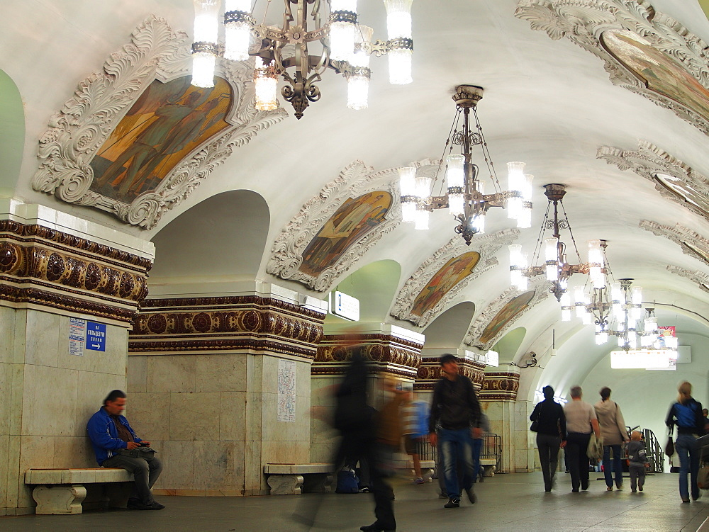 Interior of Kievskaya metro station, Moscow, Russia, Europe - 806-316