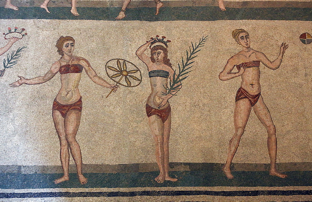 Mosaic, Villa Romana Del Casale, Piazza Armerina, UNESCO World Heritage Site, Sicily, Italy, Europe - 806-343
