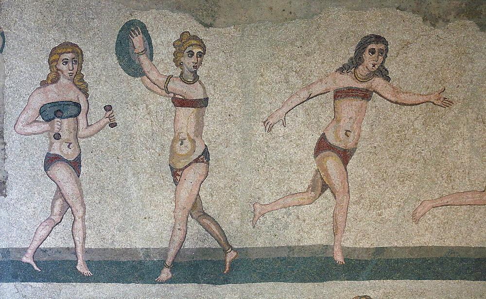 Mosaic, Villa Romana Del Casale, Piazza Armerina, UNESCO World Heritage Site, Sicily, Italy, Europe - 806-344