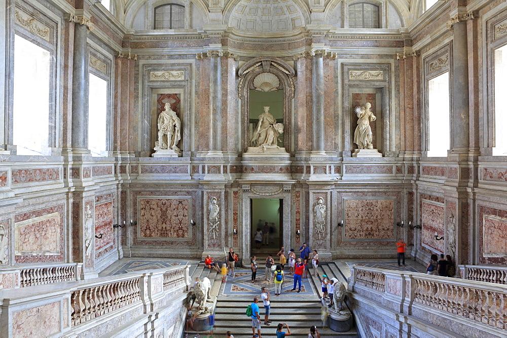 Main stairs, Reggia di Caserta, Caserta, Campania, Italy, Europe - 806-348