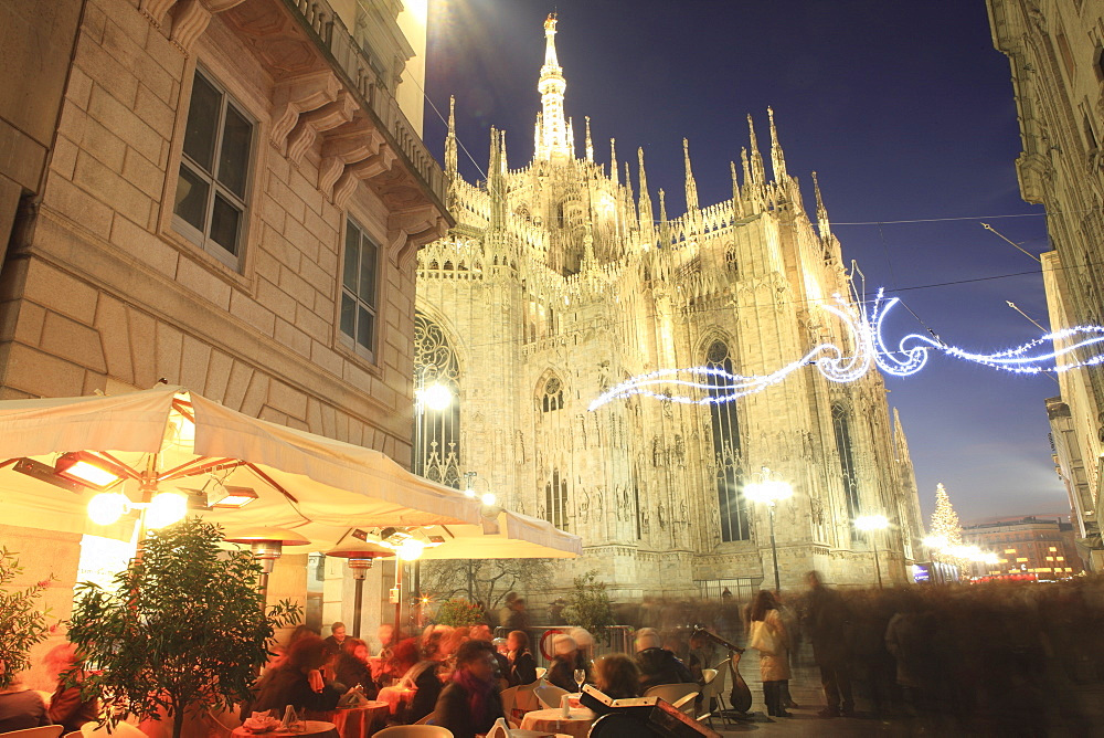 People in a Restaurant at Christmas, Milan, Lombardy, Italy, Europe