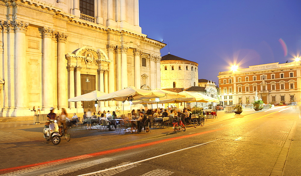 Piazza Duomo at dusk, Brescia, Lombardy, Italy, Europe