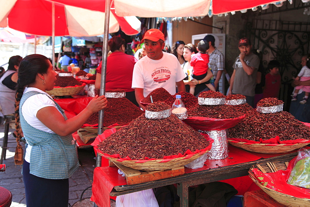 Vendor selling chapulines (fried grasshoppers), Oaxaca City, Oaxaca, Mexico, North America