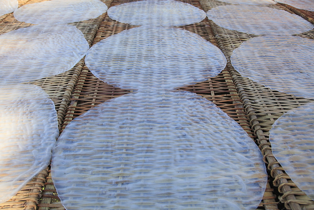 Rice paper crepes drying, Rice Noodle Factory, Mekong Delta, Can Tho Province, Vietnam, Indochina, Southeast Asia, Asia