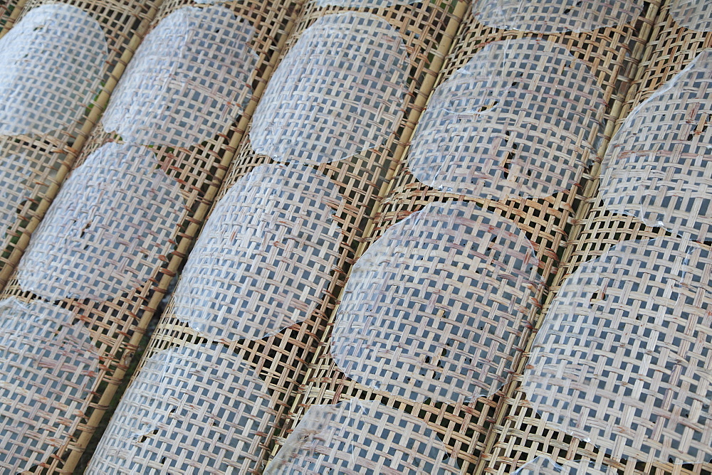 Rice paper crepes drying, Cu Lao May, Mekong Delta, Vinh Long Province, Vietnam, Indochina, Southeast Asia, Asia