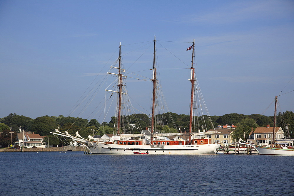 Schooner, Mystic Seaport, Mystic River, Connecticut, New England, United States of America, North America