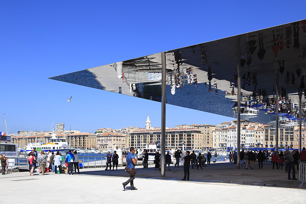 Ombriere, Mirrored Shelter, designed by Norman Foster, Vieux Port (Old Port), Marseille, Bouches du Rhone, Provence Alpes Cote d'Azur, Provence, France, Europe