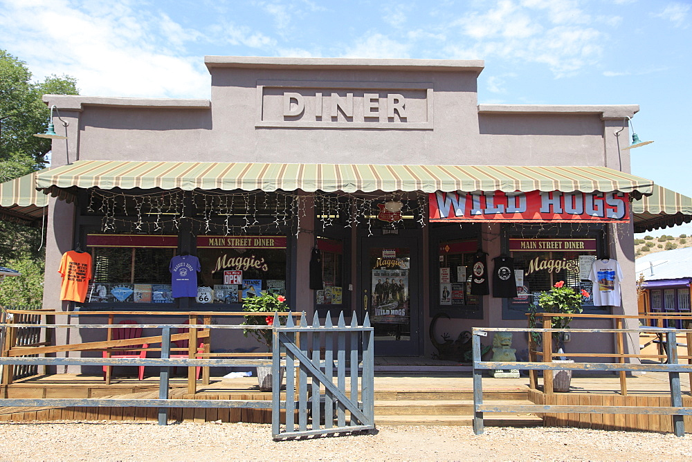 Diner where Wild Hogs movie was filmed, Madrid, former mining town in the Ortiz Mountains, Turquoise Trail, New Mexico, United States of America, North America