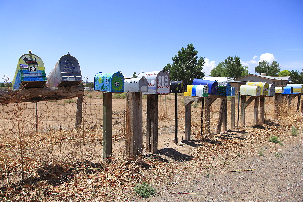 Painted rural mailboxes, Galisteo, Santa Fe County, New Mexico, United States of America, North America