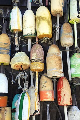 Lobster buoys, Cape Cod National Seashore, Orleans, Cape Cod, Massachusetts, New England, United States of America, North America