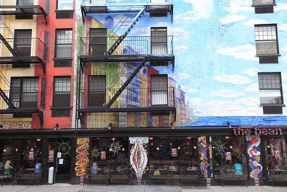 Apartment Building and coffee shop, East Village, Manhattan, New York City, United States of America, North America