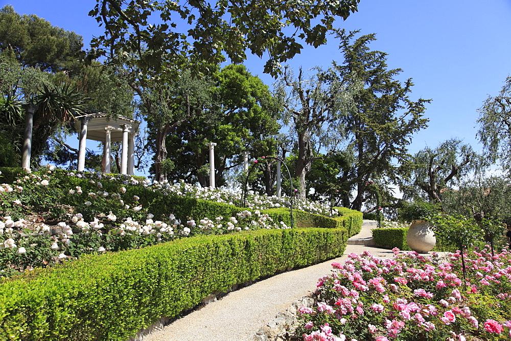 Rose Garden, Ephrussi de Rothschild Villa, Saint Jean Cap Ferrat, Cote d'Azur, French Riviera, Alpes-Maritimes, France, Euro