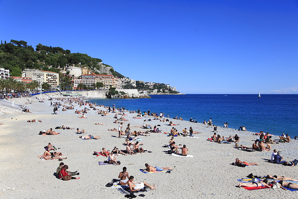 Beach, Nice, Cote d'Azur, French Riviera, France, Mediterranean, Provence, Europe