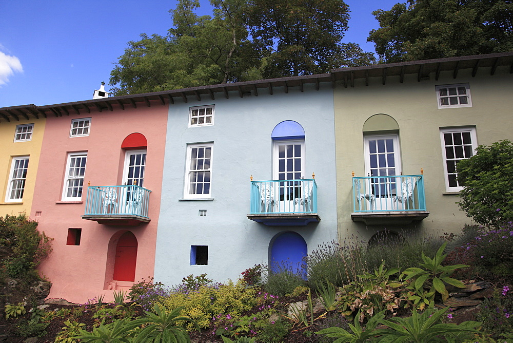 Colorful Architecture, Portmeirion Village, Gwynedd, North Wales, Wales, United Kingdom, Europe