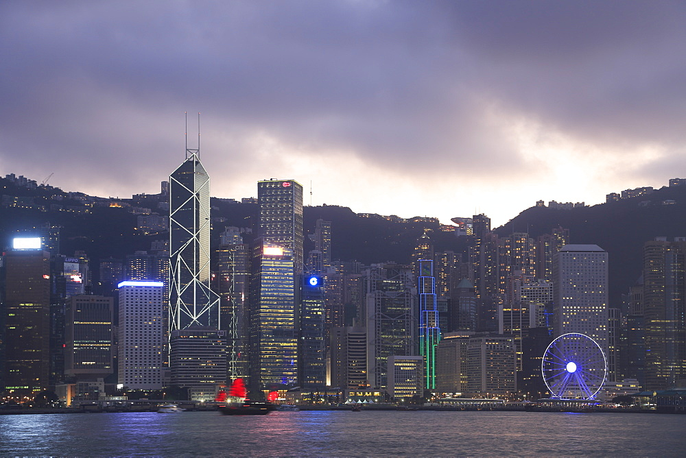 Skyline, Victoria Harbour, Hong Kong Island, Hong Kong, China, Asia