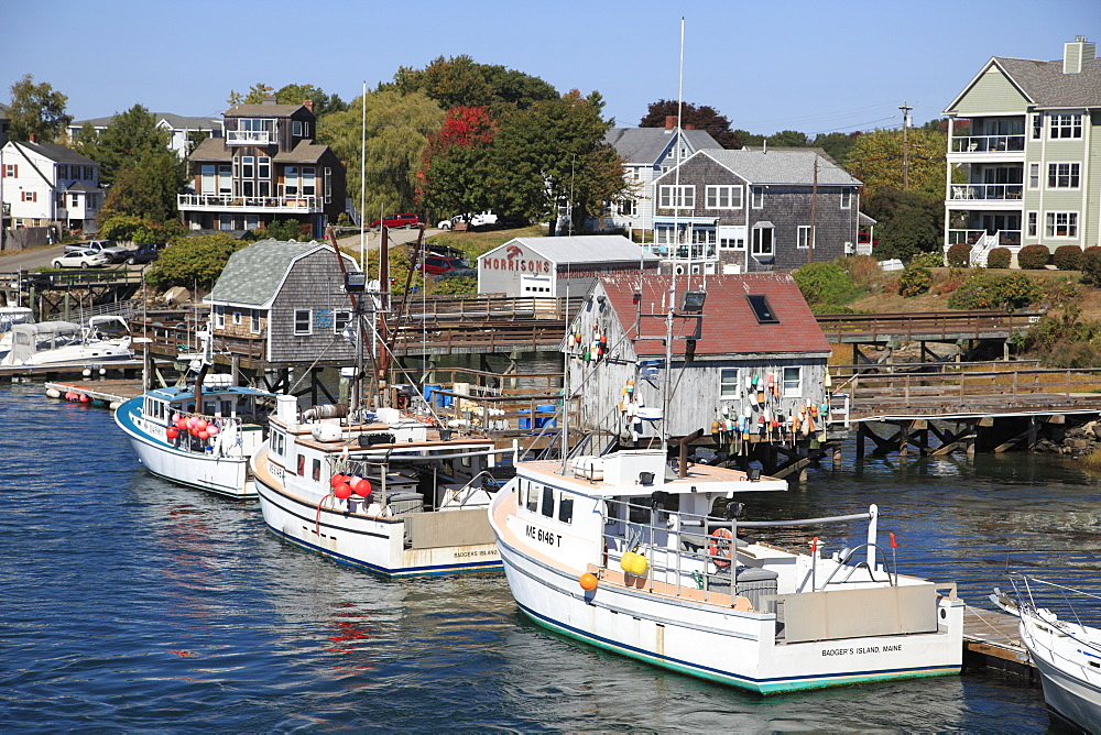 Lobster Fishing Boats, Badger's Island, Kittery, Piscataqua River, Maine, New England, USA, North America