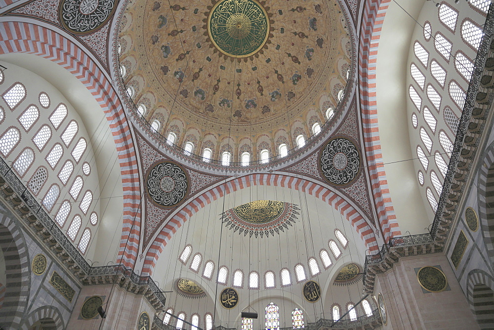 Interior, Suleymaniye Mosque, UNESCO World Heritage Site, Istanbul, Turkey, Europe