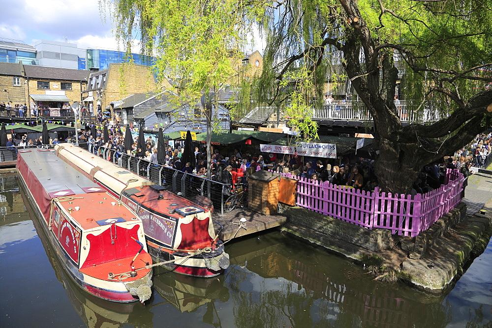 Camden Lock Market, Narrow Boats, Camden, London, England, United Kingdom