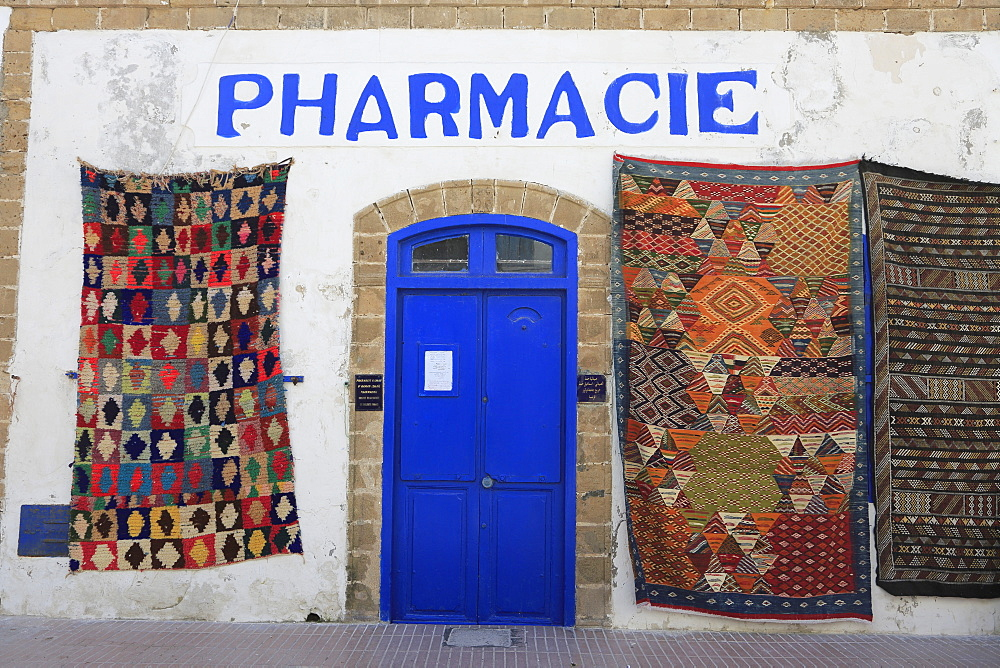 Pharmacy, Moroccan carpets, Medina, UNESCO World Heritage Site, Essaouira, Morocco, North Africa, Africa