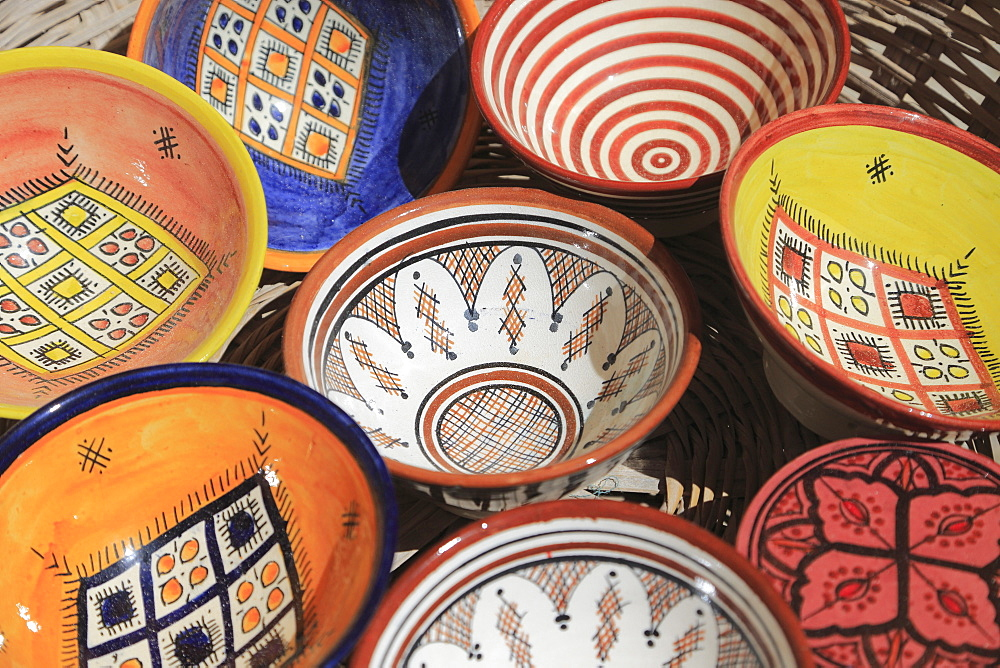 Pottery in Artisans Market below ramparts, Medina, Essaouira, Morocco, North Africa, Africa - 807-1935