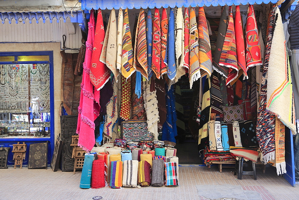 Carpets and textiles in the Souk, Medina, UNESCO World Heritage Site, Essaouira, Morocco, North Africa, Africa