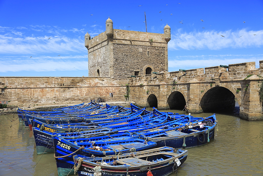 Skala du Port, fishing boats and harbor, 18th century Ramparts, Essaouira, Morocco, Atlantic Coast, North Africa, Africa
