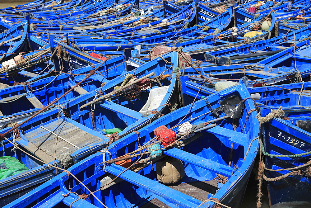 Skala du Port, fishing boats in Harbor, Essaouira, Morocco, Atlantic Coast, North Africa, Africa