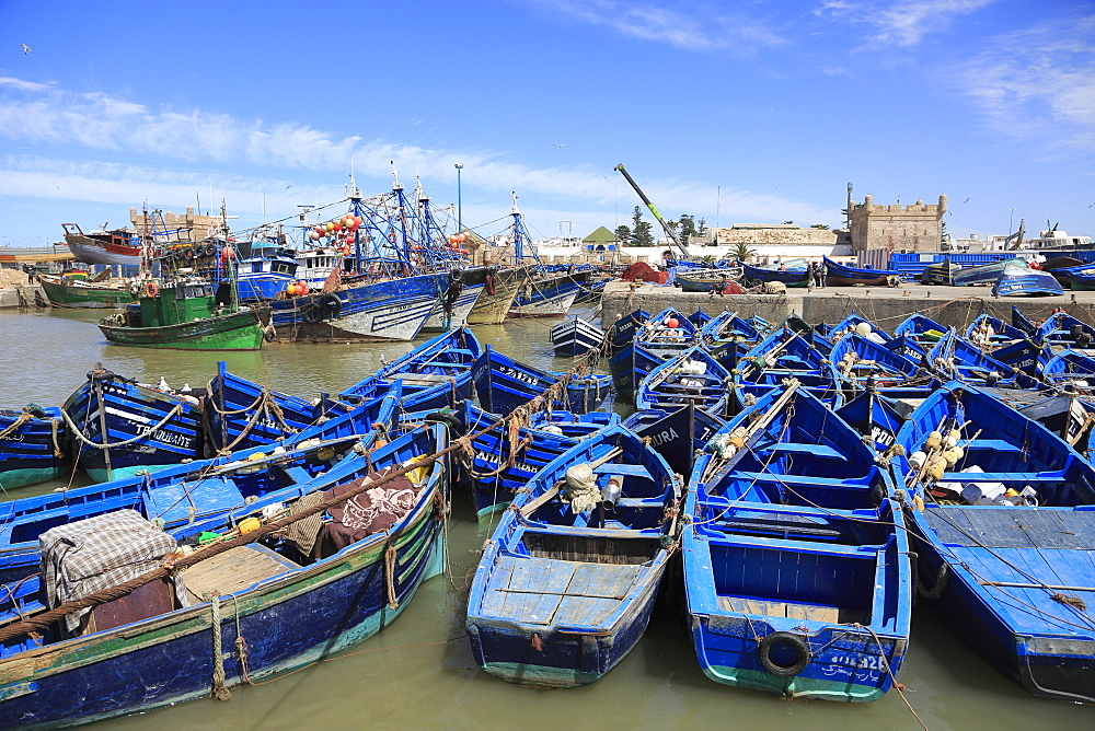Skala du Port, fishing boats and Harbor, Essaouira, Morocco, Atlantic Coast, North Africa, Africa