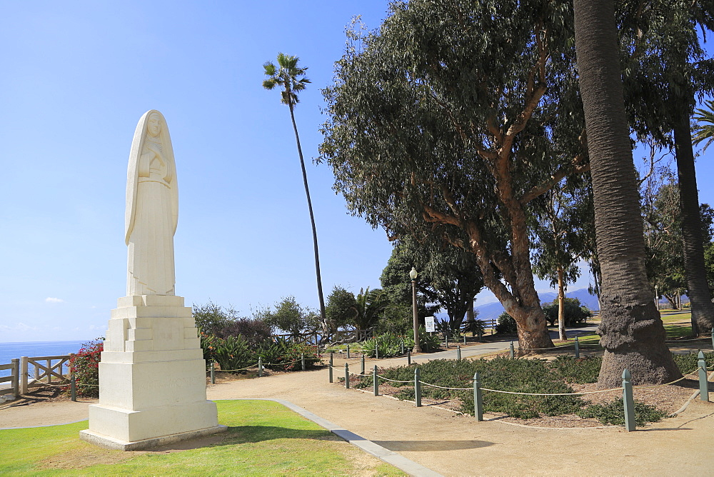 Art Deco Saint Monica statue, Palisades Park, Santa Monica, Los Angeles, California, United States of America, North America