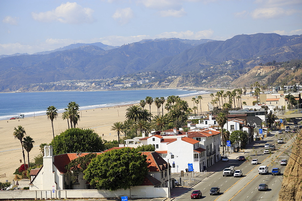 Pacific Coast Highway, Beach, Santa Monica, Malibu Mountains, Los Angeles, California, USA