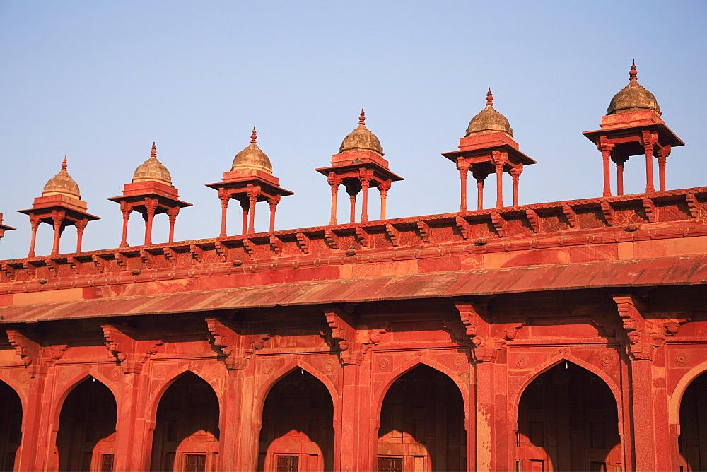 Detail of Inner courtyard of Jama Masjid, Fatehpur Sikri, UNESCO World Heritage Site, Uttar Pradesh, India, Asia