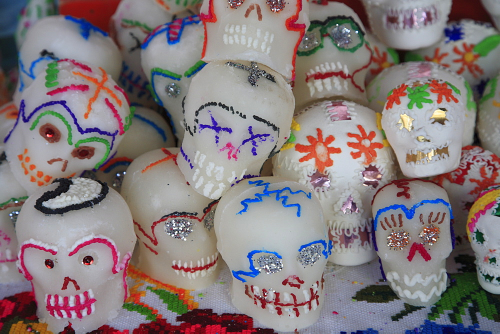 Sugar candy skulls, Day of the Dead, Patzcuaro, Michoacan state, Mexico, North America - 807-464