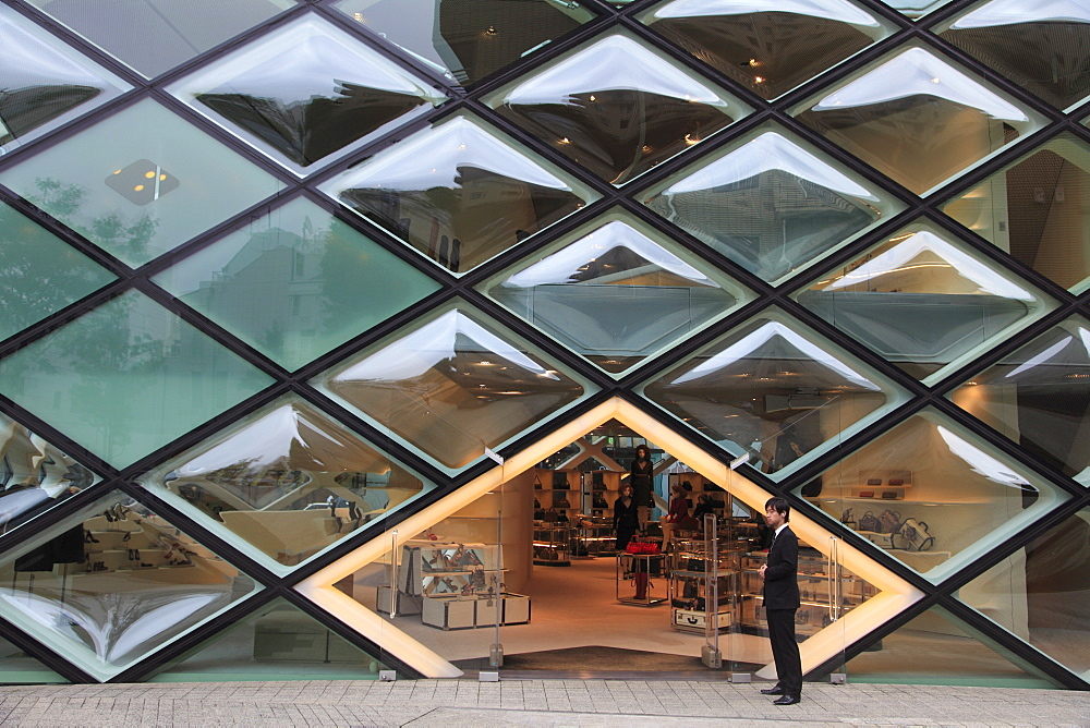 Prada building, designed by architects Herzog de Meuron, Aoyama, upscale fashion shopping district, Tokyo,  Japan, Asia