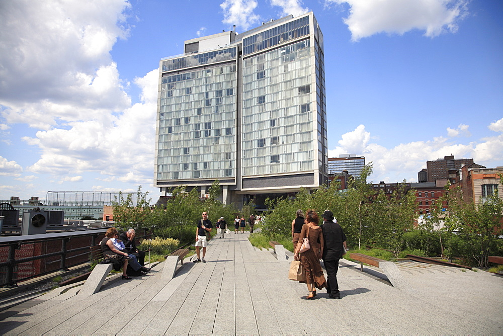 Standard Hotel, High Line, elevated public park on former rail tracks, Manhattan, New York City, United States of America, North America