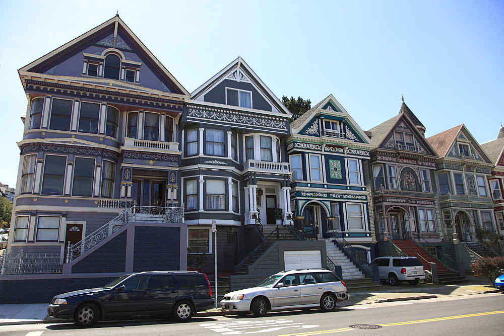 Victorian houses architecture, Haight Ashbury District, The Haight, San Francisco, California, United States of America, North America