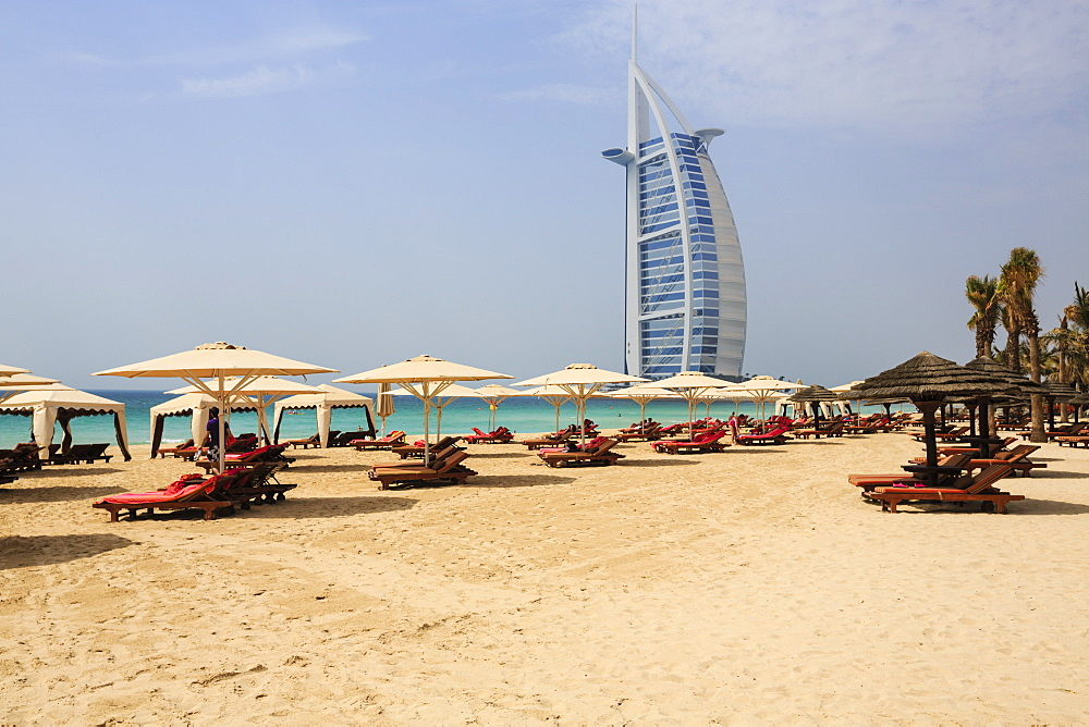 Burj Al Arab and Jumeirah beach, Dubai, United Arab Emirates, Middle East