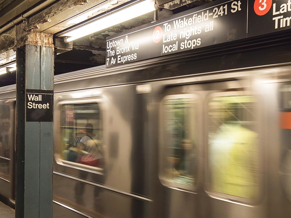 Wall Street subway train and station, Manhattan, New York City, New York, United States of America, North America
