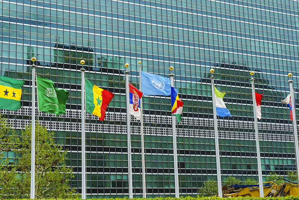 United Nations Headquarters, The United Nations Secretariat Building, Manhattan, New York City, New York, United States of America, North America